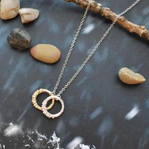 A-164 Double ring necklace, Simple ..