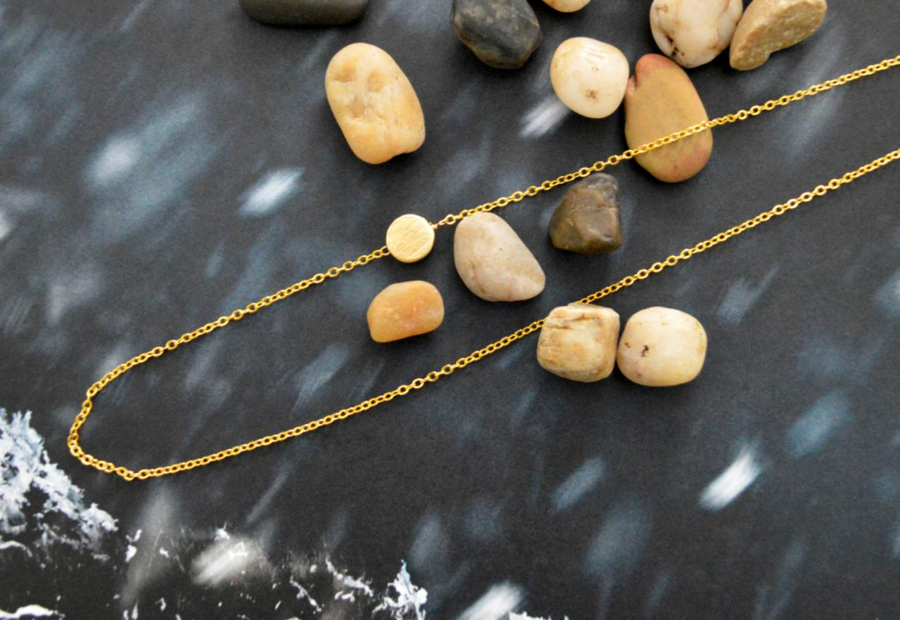 Sideways Coin necklace, Coin necklace, Unbalanced necklace, Simple necklace, Gold plated/Bridesmaid/gifts/Everyday jewelry/